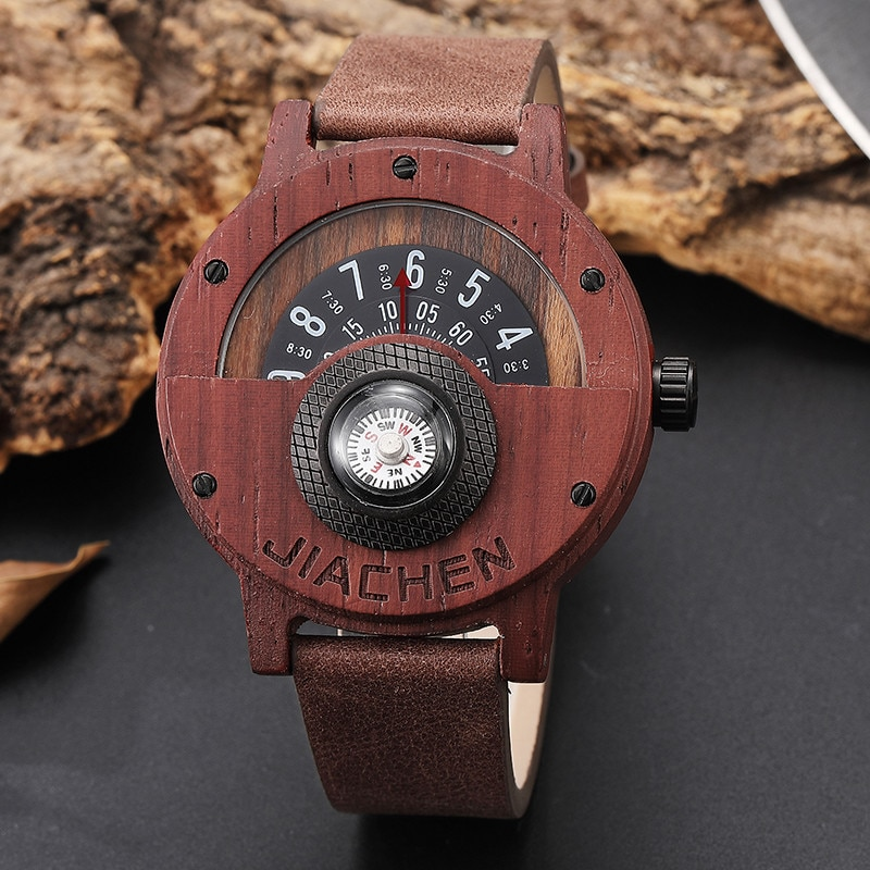 Unique Compass Turntable Number Design Mens Wooden Watch ...