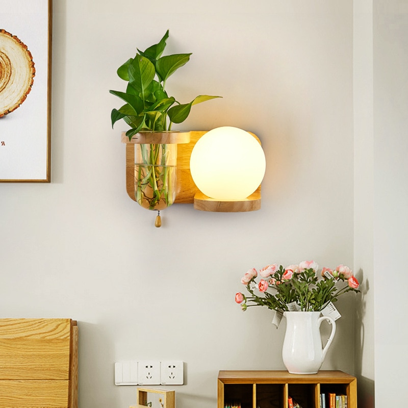Wooden Led Wall Lighting Fixture Modern Design Glass Wall ... on Wood Wall Sconces Decorative Lighting id=42668